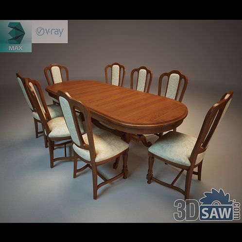 3ds Max Table And Chairs Model - 3d Model Free Download - MX-1105