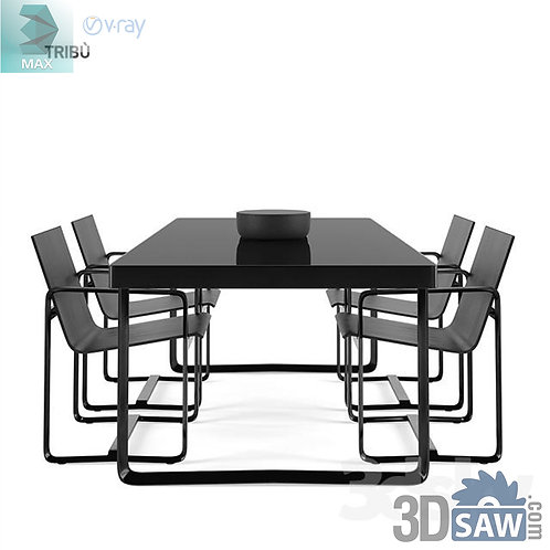 3ds Max Table And Chairs Model - 3d Model Free Download - MX-1092