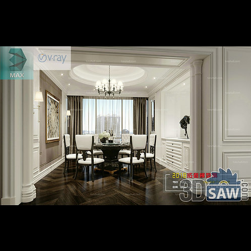3d Model Interior Free Download - 3ds Max Dining Room Decor - MX-895