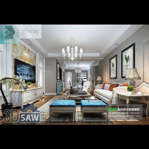 3d Model Interior Free Download - 3ds Max Living Room Decor - MX-1045