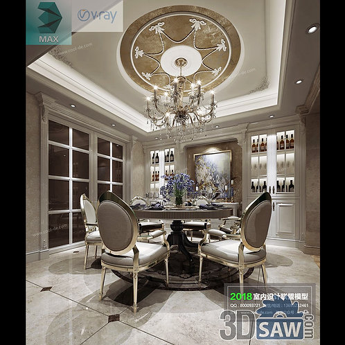 3d Model Interior Free Download - 3ds Max Dining Room Decor - MX-870