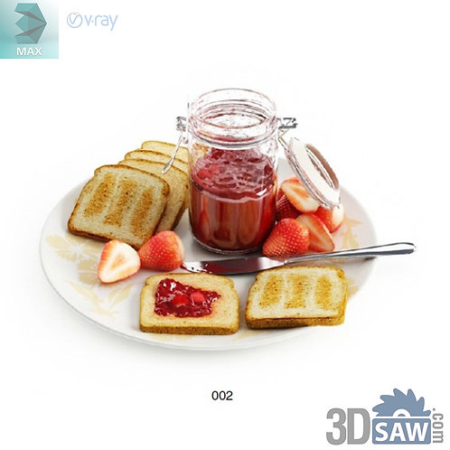 3ds Max Foods Breakfast - Kitchen Items - 3d Model Free Download