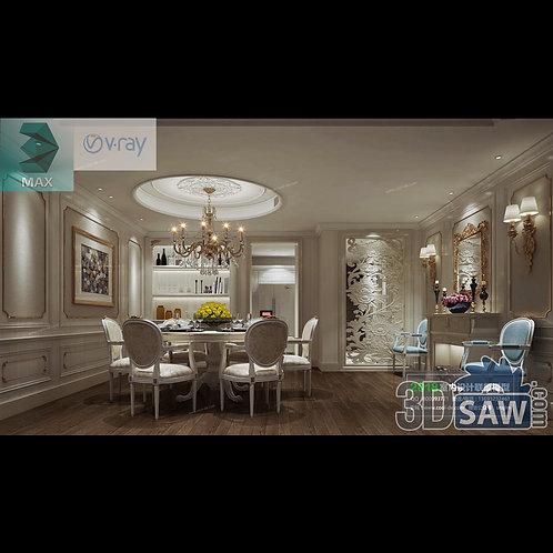 3d Model Interior Free Download - 3ds Max Dining Room Decor - MX-891