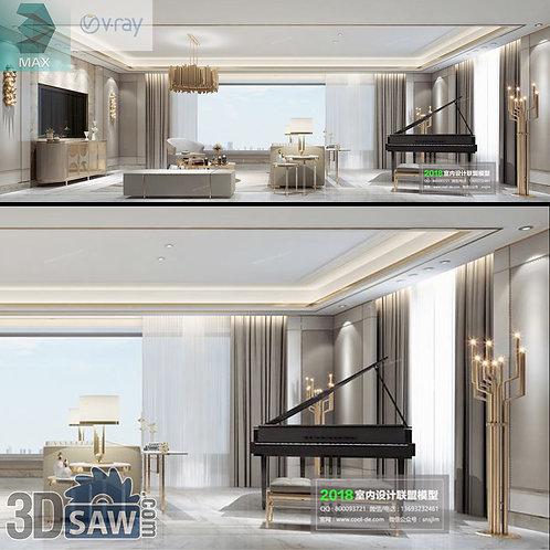 Model Interior Free Download - 3ds Max Living Room Decor - MX-1074