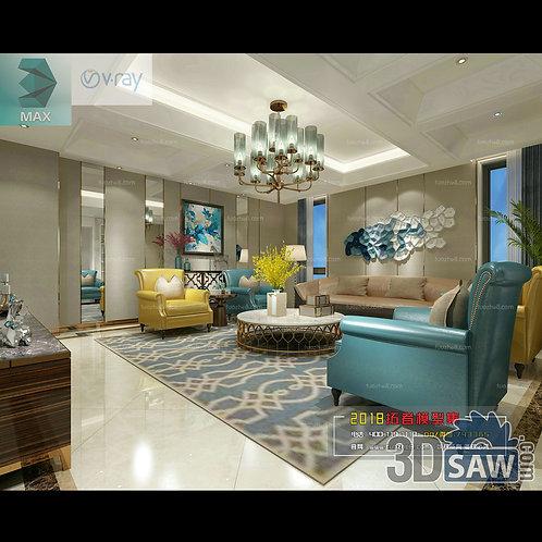 3d Model Interior Free Download - 3ds Max Living Room Decor - MX-1012