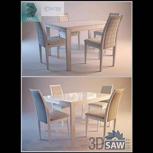 3ds Max Table And Chairs Model - 3d Model Free Download - MX-968