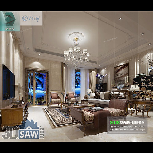 Model Interior Free Download - 3ds Max Living Room Decor - MX-1068