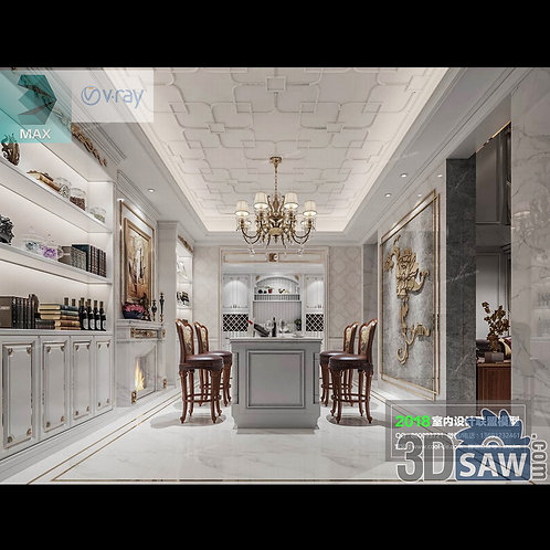 3d Model Interior Free Download - 3ds Max Dining Room Decor - MX-874