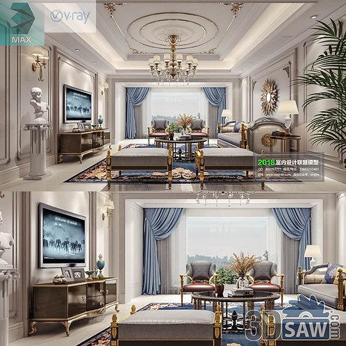 3d Model Interior Free Download - 3ds Max Living Room Decor - MX-1049