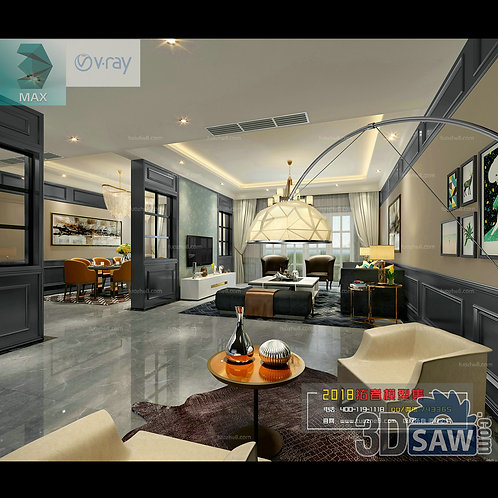 3d Model Interior Free Download - 3ds Max Living Room Decor - MX-1029
