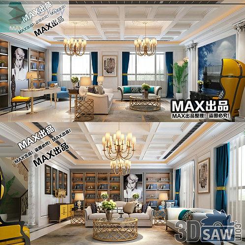 3d Model Interior Free Download - 3ds Max Living Room Decor - MX-1000