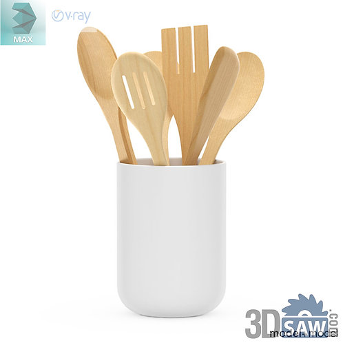 3ds Max Wood Kitchen Spoon - Kitchen Items - 3d Model Free Download