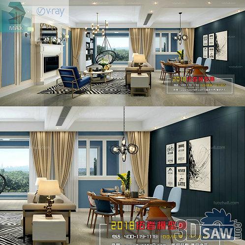 3d Model Interior Free Download - 3ds Max Living Room Decor - MX-1019