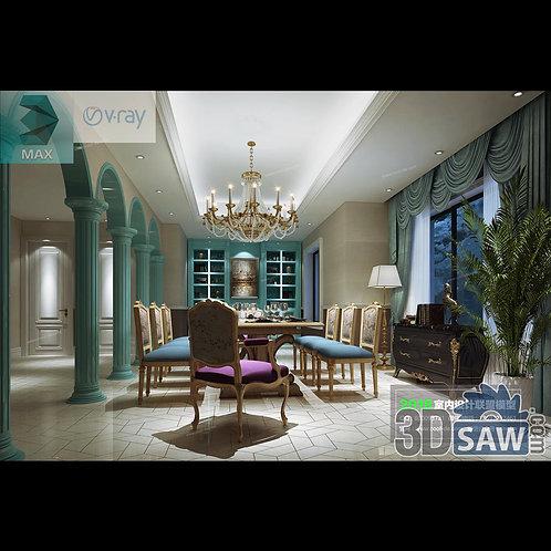 3d Model Interior Free Download - 3ds Max Dining Room Decor - MX-889