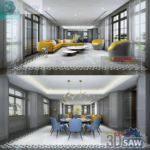 3d Model Interior Free Download - 3ds Max Living Room Decor - MX-1004