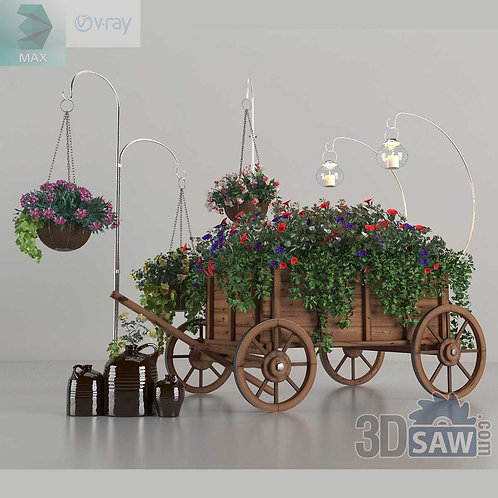 Wooden Flower Cart - Interior Plants - MX-0000095