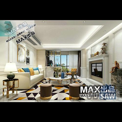3d Model Interior Free Download - 3ds Max Living Room Decor - MX-1009