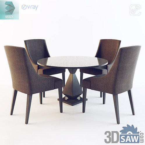 3ds Max Table And Chairs Model - 3d Model Free Download - MX-1098