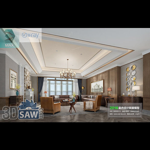 Model Interior Free Download - 3ds Max Living Room Decor - MX-1077