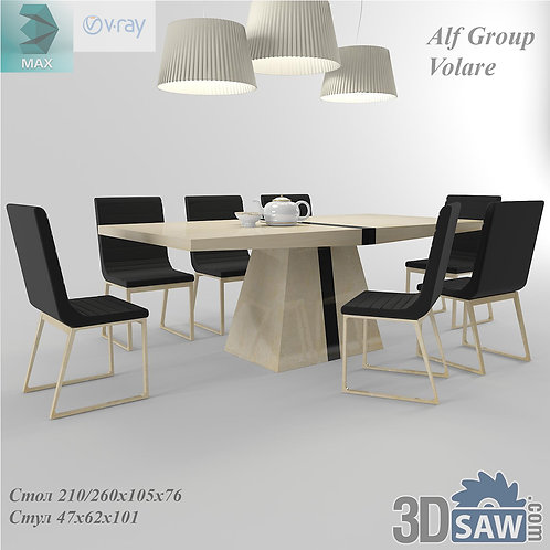 3ds Max Table And Chairs Model - 3d Model Free Download - MX-989