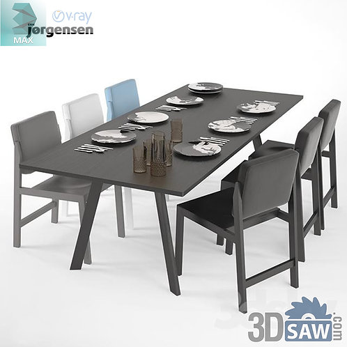 3ds Max Table And Chairs Model - 3d Model Free Download - MX-1090