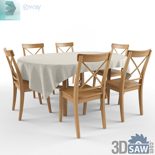 3ds Max Table And Chairs Model - 3d Model Free Download - MX-1112