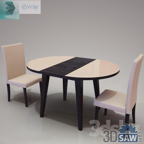 3ds Max Table And Chairs Model - 3d Model Free Download - MX-1083