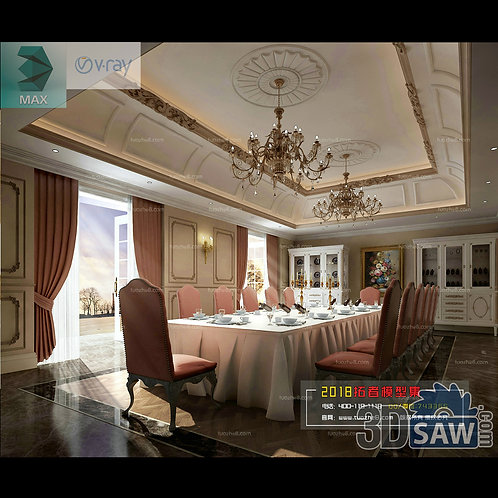 3d Model Interior Free Download - 3ds Max Dining Room Decor - MX-897