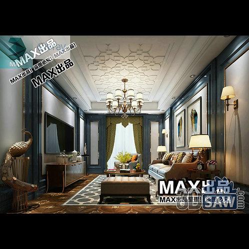 3d Model Interior Free Download - 3ds Max Living Room Decor - MX-1007