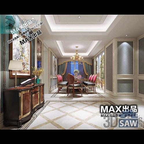 3d Model Interior Free Download - 3ds Max Dining Room Decor - MX-893