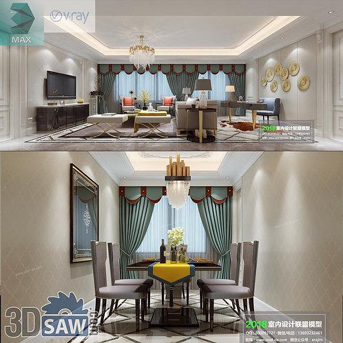 3d Model Interior Free Download - 3ds Max Living Room Decor - MX-1063