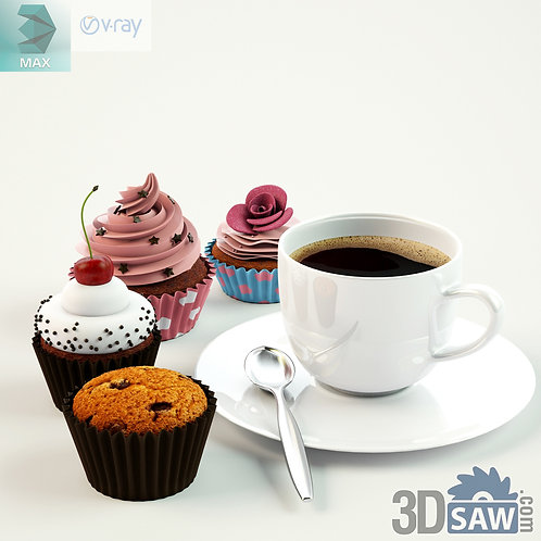 3ds Max Foods Cupcakes - Coffee Cup - Kitchen Items - 3d Model Free Download