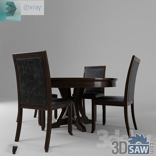 3ds Max Table And Chairs Model - 3d Model Free Download - MX-999