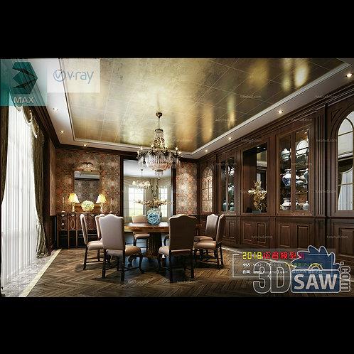 3d Model Interior Free Download - 3ds Max Dining Room Decor - MX-894