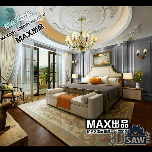 3d Model Interior Design Free Download - 3ds Max Bedroom Design - MX-916
