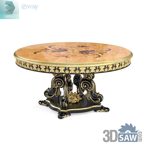 Round Table with Inlay - Baroque Decor - Vintage Furniture - MX-514