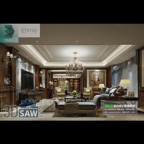 3d Model Interior Free Download - 3ds Max Living Room Decor - MX-1056