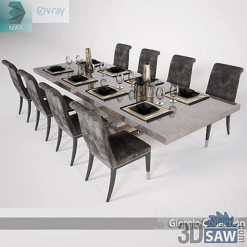 3ds Max Table And Chairs Model - 3d Model Free Download - MX-1127