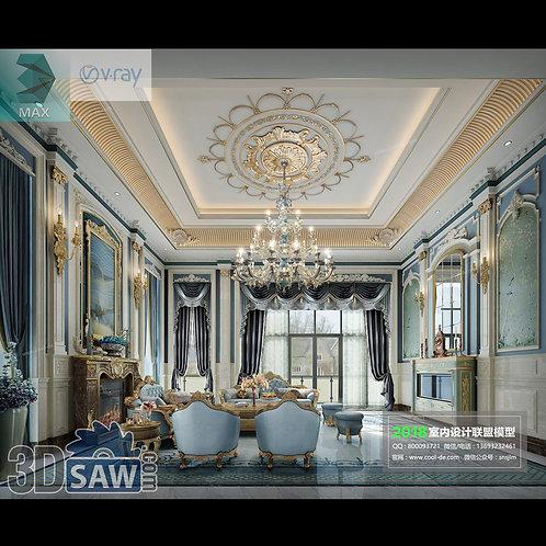 Model Interior Free Download - 3ds Max Living Room Decor - MX-1072