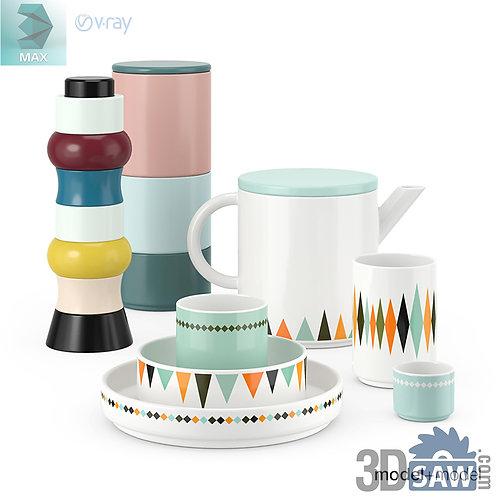3ds Max Kid's Bowl Set - Kitchen Items - 3d Model Free Download