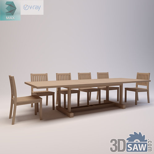 3ds Max Table And Chairs Model - 3d Model Free Download - MX-972