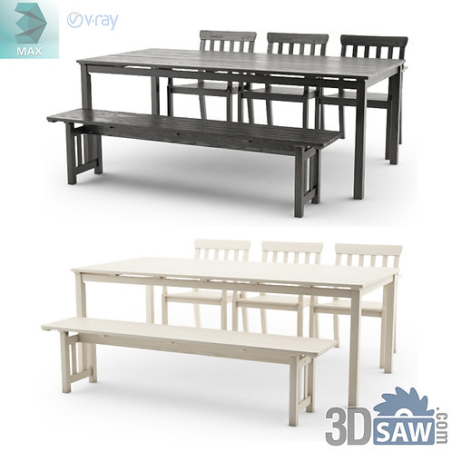 3ds Max Table And Chairs Model - 3d Model Free Download - MX-1138