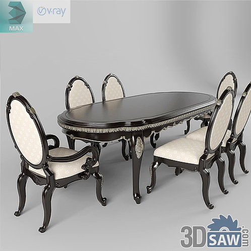 3ds Max Table And Chairs Model - 3d Model Free Download - MX-1124