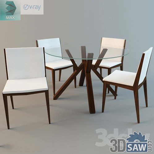 3ds Max Table And Chairs Model - 3d Model Free Download - MX-985
