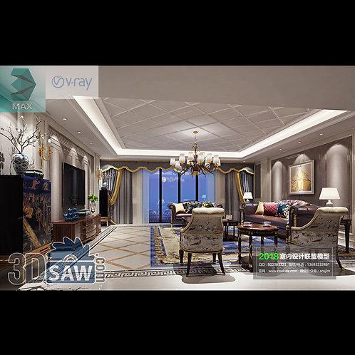 3d Model Interior Free Download - 3ds Max Living Room Decor - MX-1055
