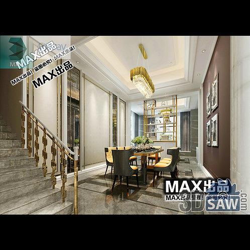 3d Model Interior Free Download - 3ds Max Dining Room Decor - MX-898