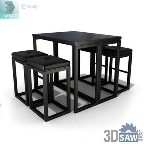 3ds Max Table And Chairs Model - 3d Model Free Download - MX-1142