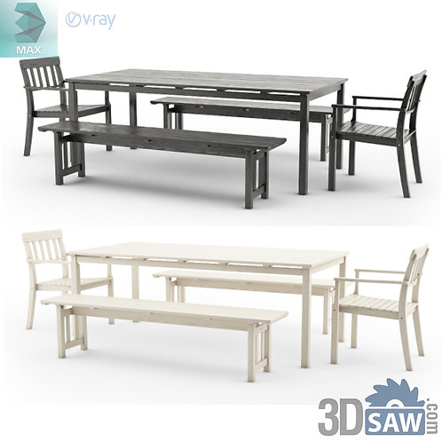 3ds Max Table And Chairs Model - 3d Model Free Download - MX-1140