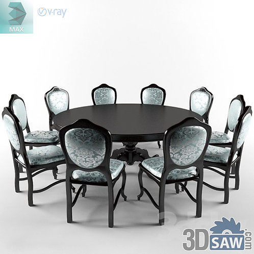 3ds Max Table And Chairs Model - 3d Model Free Download - MX-1107