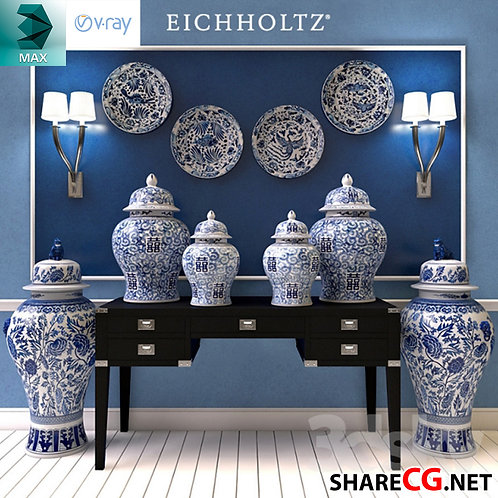 Chinese Vases Set Decor - MX-0000044